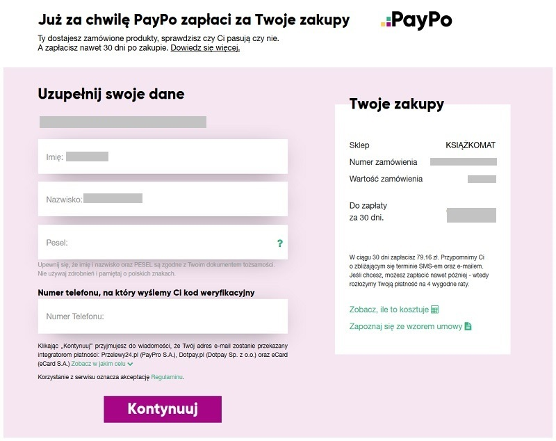 PayPo - formularz